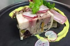 terrine maison de caille, canard et foie gras